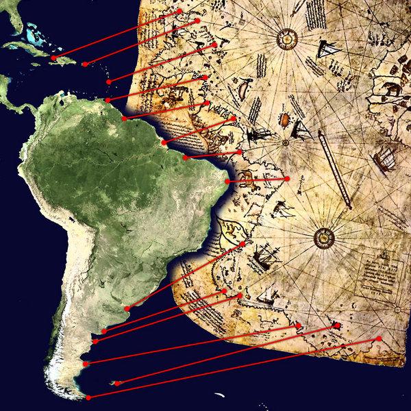 Objets anachroniques de l'histoire 600px-piri_reis_map_interpretation