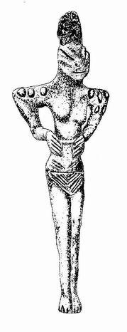 """Déesse Sumérienne portant le """"ME"""" sur ses épaules"""