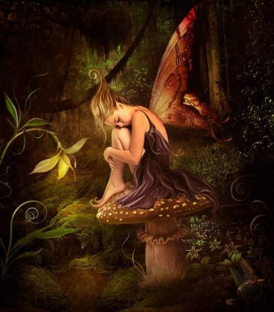 Les fées sont souvent représentés assises sur un gros champignon hallucinogène