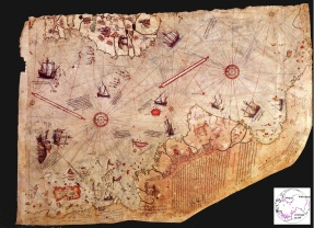 Carte dessinée en 1513 par l'amiral Piri Reis
