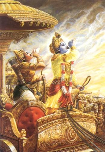 Aljuna et Krishna, avant le début de la grande bataille de Kurukshetra