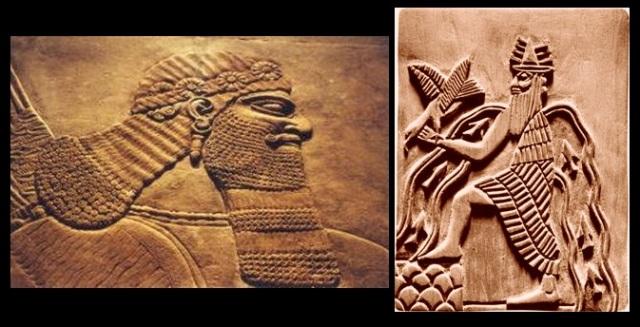 Enlil (à gauche) et Enki (à droite)